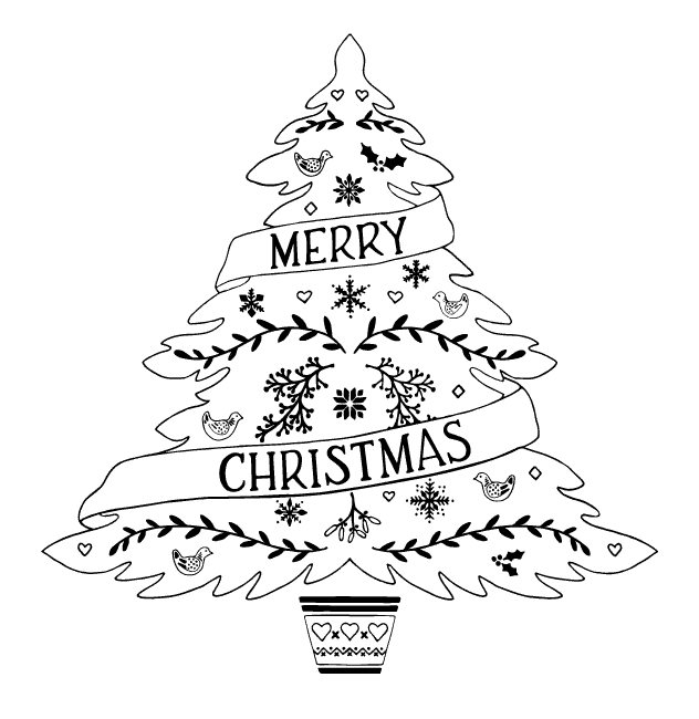 Christmas Tree Png Black And White