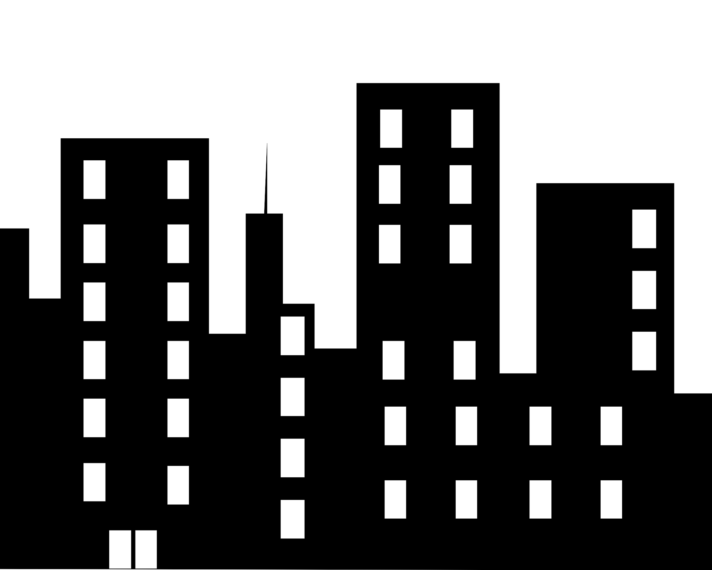 City Building Clipart Black And White Png 1 Png Image