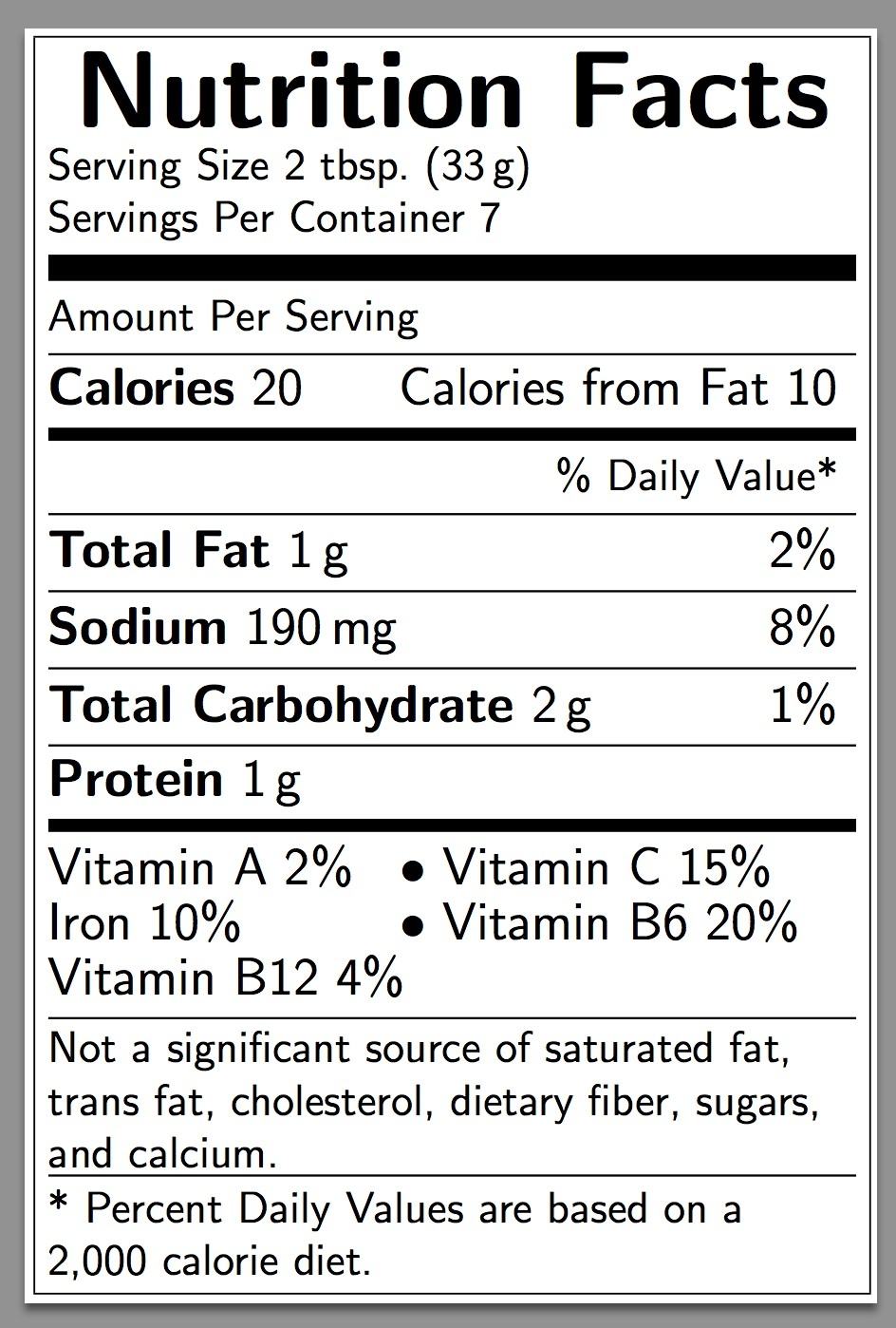 Nutrition Facts Blank Template With