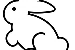 rabbit black and white png 4
