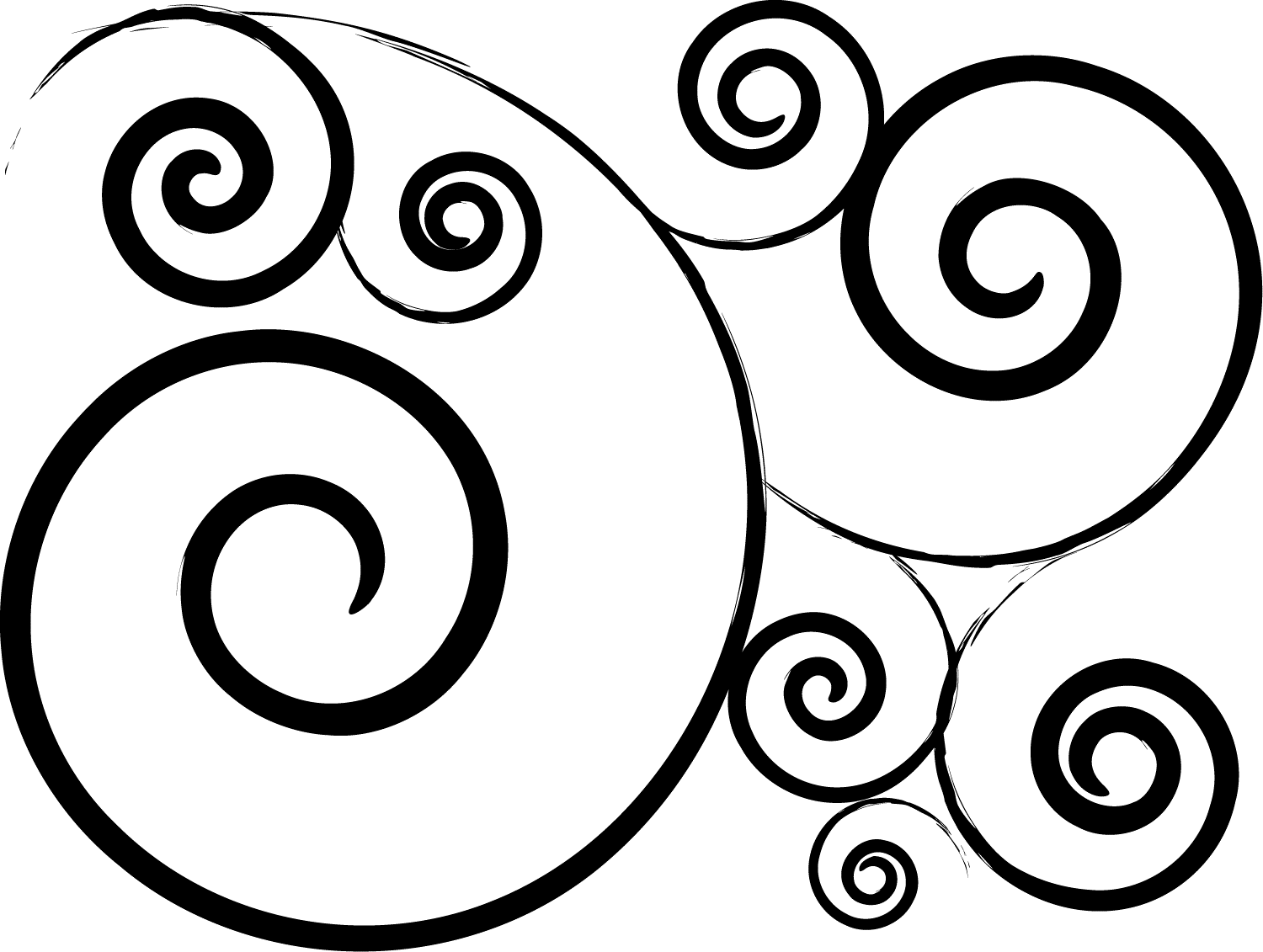 Simple Swirl Design Black And White Png 2 Png Image