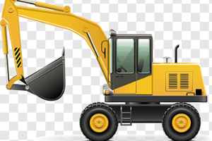 excavator truck black and white png 1